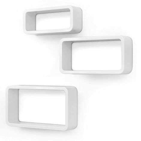 Wall Shelves Set of 3 Cube Floating Shelves Weight Capacity 15 kg, 44/39/34cm, White LWS97W