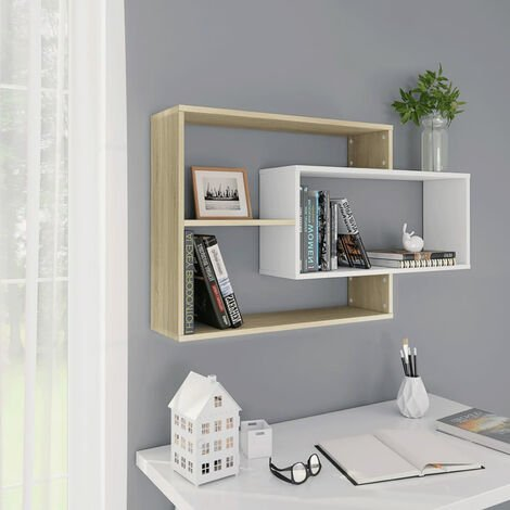 """main image of """"Wall Shelves White and Sonoma Oak 104x20x58,5 cm Chipboard"""""""