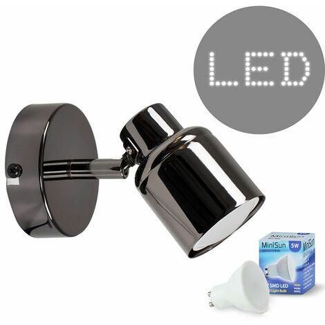 Wall Spotlight Black Chrome Finish + 1 x 5W Warm White Gu10 LED Bulb
