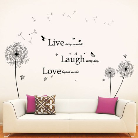 Wall Sticker Decal Black Dandelion with Classic Live Laugh Love Quote