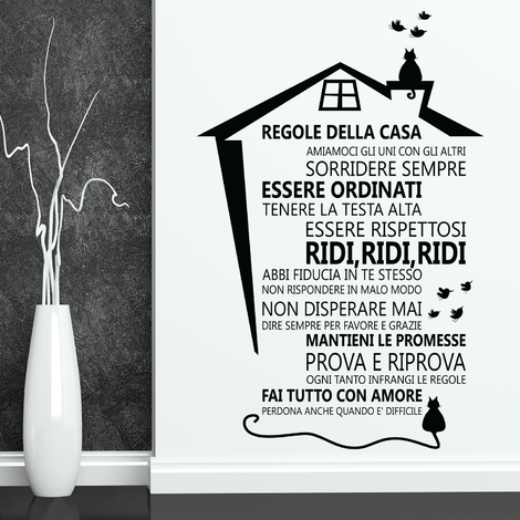 Wall Sticker Decal Cat House Roof with Italian Family Quote