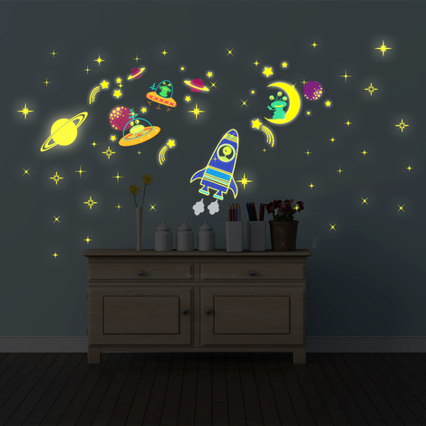 Wall Sticker Decal Glow in Dark Galaxy Glow with Moon & Stars Glow