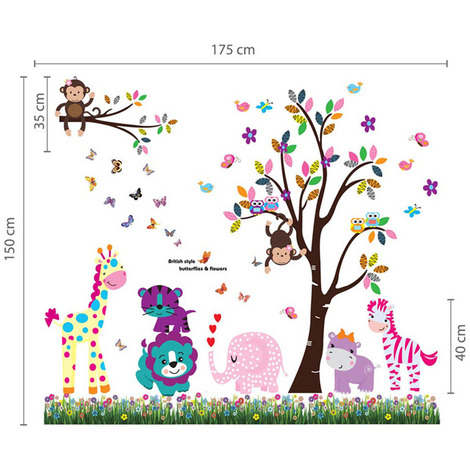 Wall Sticker Decal Happy Animals Tree with Butterfly Grass
