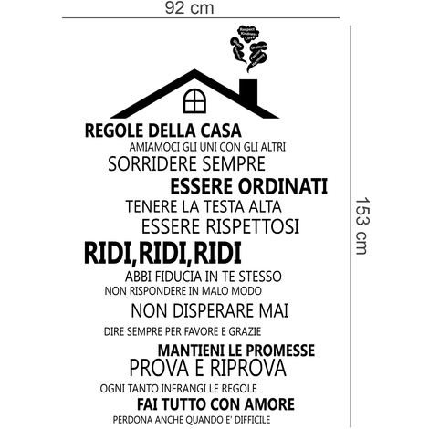 Wall Sticker Decal House Roof With Italian Family Quote
