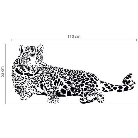 Wall Sticker Decal Leopard with Swarovski Crystals