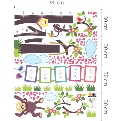 Wall Sticker Decal Nursery Monkey Height Measure with Elephant Animals