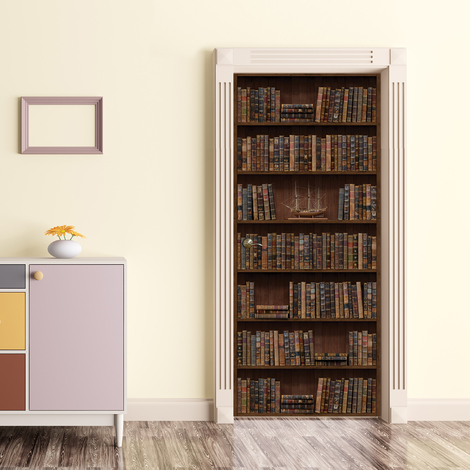 Wall Sticker Decal Vintage Bookshelf Library