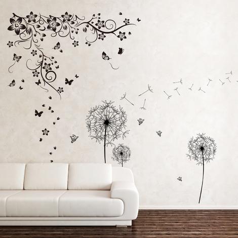 Wall Sticker Decal Walplus New Huge Butterfly Vine with Black Dandelion Flower