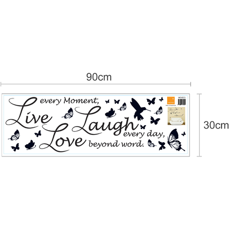 Wall Sticker Decal Walplus New Huge Butterfly Vine with Live Laugh Love Quote (Lucida Handwriting)