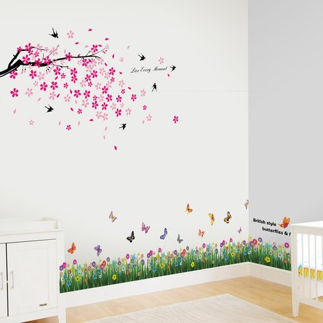 Wall Sticker Flying Swallows with Butterfly Grass