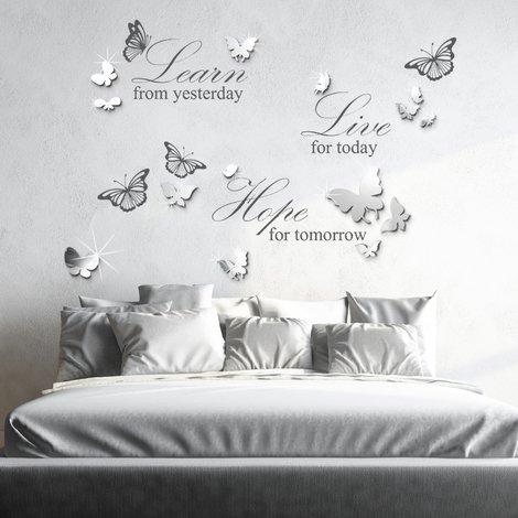 Wall Sticker Live Learn Hope Quote with Mirror Butterflies