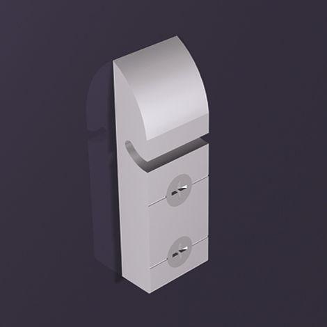 Wall Sys Trägerteile Länge 50 mm, Aluminium natur eloxiert