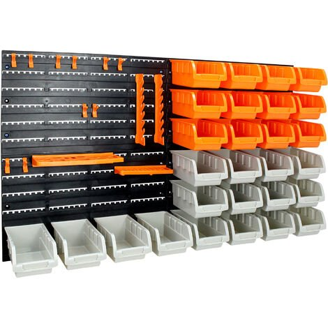 Wall Tool Rack Pegboard, Wall Mount Storage Organiser, 46 pieces, Size: 47.5 x 27.1 x 16.3 cm (18.7 x 10.7 x 6.4 inch)