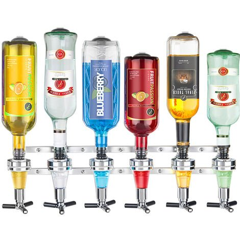 Wall Wine Dispenser Spirit Drinks Holder 6 Bottle Stand Rack Optics Bar Butler