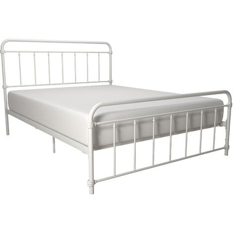 Wallace White Metal Bed 4ft6 Double 135 x 190 cm By Dorel