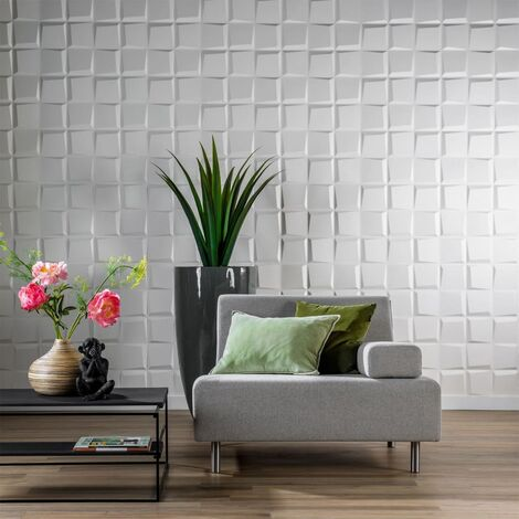 WallArt 12/24x Panneaux Muraux 3D Oberon Papier Peint Salle de Bain Salon