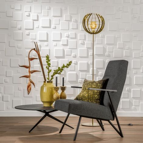 WallArt 24 pcs 3D Wall Panels GA-WA09 Squares - White