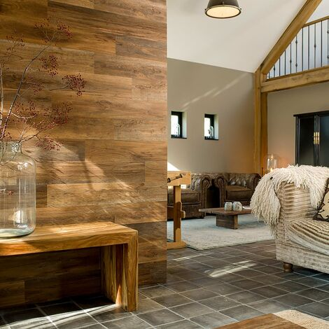 """main image of """"WallArt Wood Look Planks Barnwood Oak Umber Brown - Brown"""""""