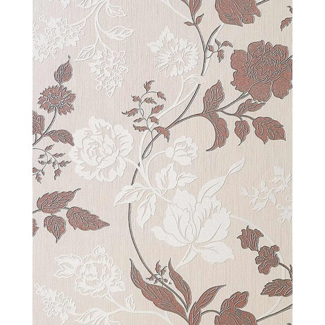 Wallcovering flower floral vinyl wallpaper wall EDEM 116-23 cream white brown silver glitters 5.33 sqm (57 sq ft)