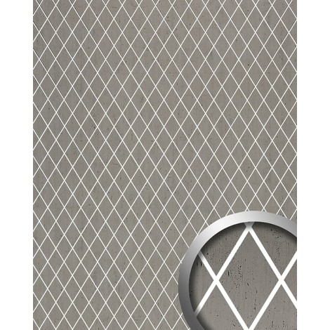 Wallcovering self-adhesive WallFace 18607 TL LINEA Wall panel Romb Mosaic Design translucent joints platinum grey 2.60 sqm