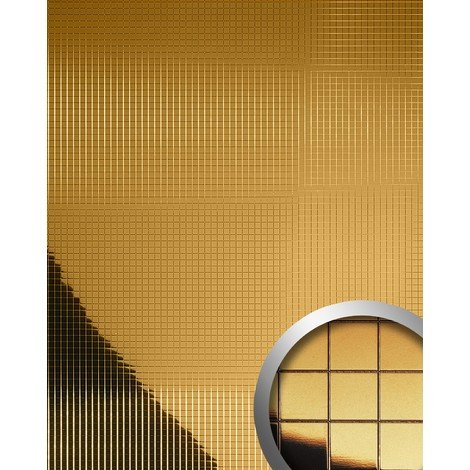 WallFace 10581 M-STYLE Wall panel wall deco plate eyecatch wallcovering metallized smooth mosaic mirror gold | 0.96 sqm