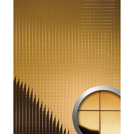 WallFace 10582 M-STYLE Wall panel eyecatch decor plate wallcovering self-adhesive metal mosaic mirror gold | 0.96 sqm
