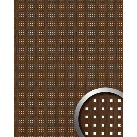 WallFace 12540 3D QUAD Wall panel square hole punched deco wood look wallcovering self-adhesive brown silver | 2.60 sqm