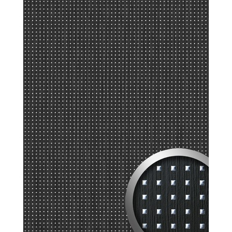 WallFace 12549 3D QUAD Wall panel square hole punched deco wood look wallcovering self-adhesive black silver | 2.60 sqm