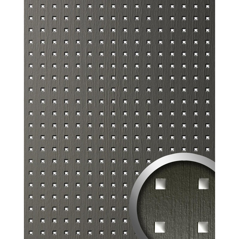 Wallface 12557 Quad Wall Panel Square Hole Punched Deco Wood Look Wallcovering Self Adhesive Grey Silver 2 60 Sqm