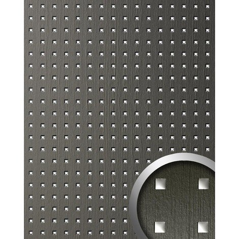 WallFace 12557 3D QUAD Wall panel square hole punched deco wood look wallcovering self-adhesive grey silver | 2.60 sqm