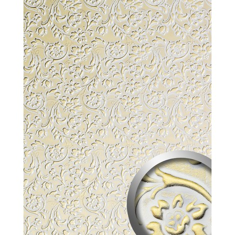 WallFace 13415 FLORAL Wall panel leather baroque flower interior decor wallcovering self-adhesive white gold | 2.60 sqm
