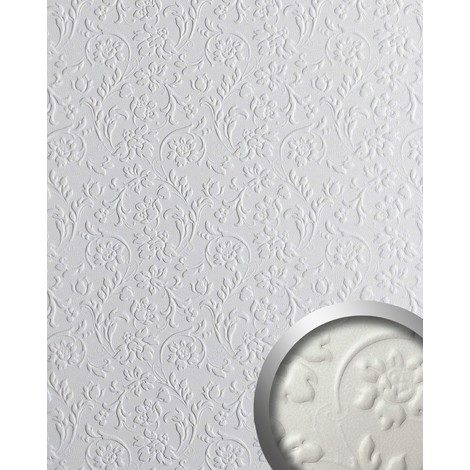 WallFace 13473 FLORAL Wall panel leather baroque 3D flower interior decor wallcovering self-adhesive white | 2.60 sqm