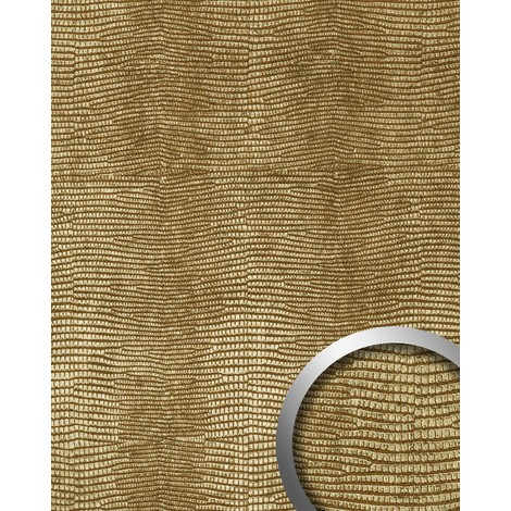 WallFace 13478 LEGUAN Wall panel leather imitation wallcovering decoration self-adhesive interior plate gold | 2.60 sqm