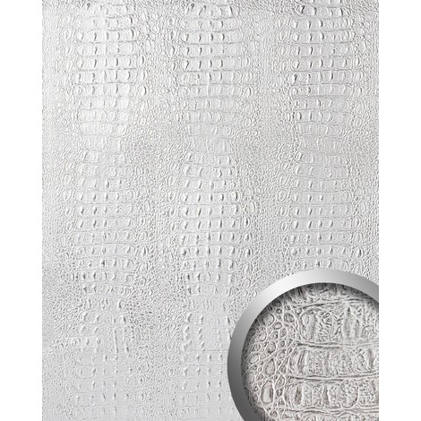 WallFace 13520 CROCO Wall panel textured 3D interior decor wallcovering decoration self-adhesive silver grey | 2.60 sqm