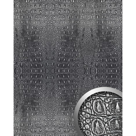 WallFace 13521 CROCO Wall panel textured 3D interior decor luxury wallcovering self-adhesive black silver | 2.60 sqm