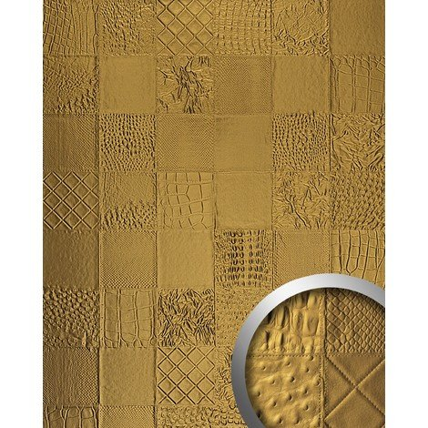 WallFace 13926 COLLAGE Wall panel leather 3D interior luxury wallcovering decoration self-adhesive gold | 2.60 sqm