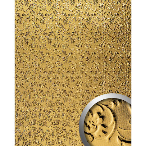 WallFace 14267 FLORAL Wall panel leather baroque flower interior decor wallcovering self-adhesive gold | 2.60 sqm