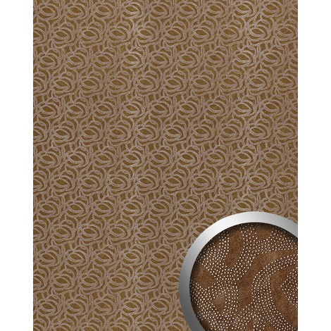 WallFace 14302 ELEGANZA Wall panel leather decor eyecatch wallcovering self-adhesive brown silver rivets | 2.60 sqm