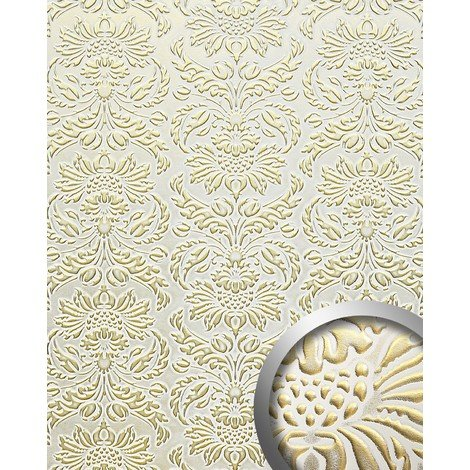 WallFace 14793 IMPERIAL Wall panel leather baroque damask 3D interior wall decor self-adhesive white gold | 2.60 sqm
