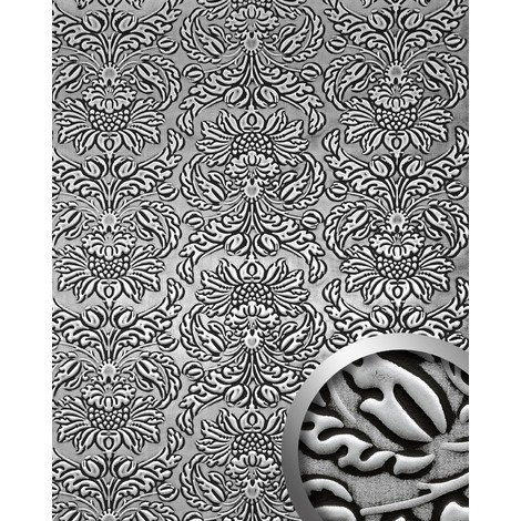 WallFace 14795 IMPERIAL Wall panel leather baroque damask interior wallcovering self-adhesive black silver | 2.60 sqm