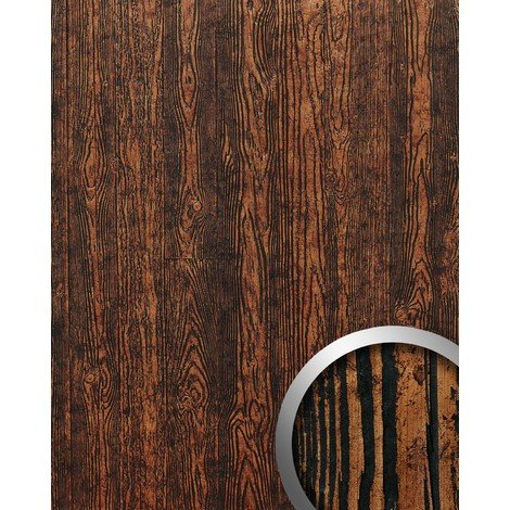 WallFace 14807 WOOD Wall panel wallcovering eyecatch decor interior plate self-adhesive copper-brown black | 2.60 sqm