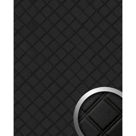 WallFace 15030 ROMBO Wall panel leather square 3D interior decor luxury wallcovering self-adhesive black | 2.60 sqm