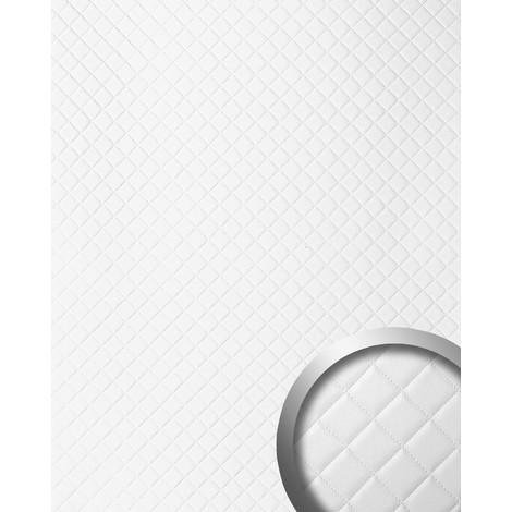 WallFace 15041 ROMBO Wall panel self-adhesive Leather design plaid Luxury wallcovering white mat | 2.60 sqm