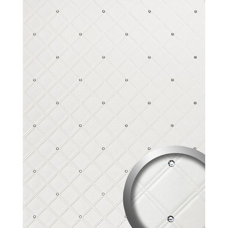 WallFace 15044 CRISTAL ROMBO Wall panel self-adhesive Leather design glass crystals decor Wallcovering white | 2.60 sqm