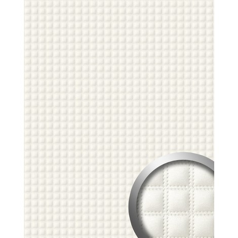 WallFace 15175 QUADRO Wall panel leather decor square eye-catcher luxury wallcovering self-adhesive white | 2.60 sqm
