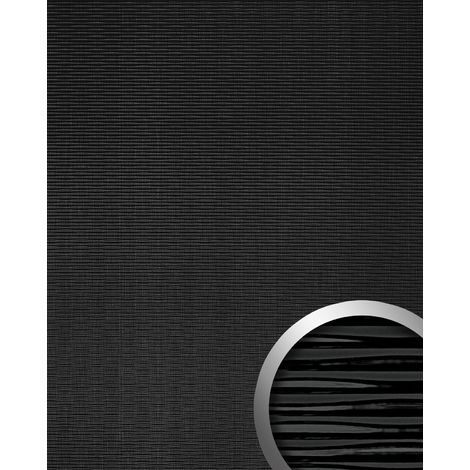 WallFace 15763 MOTION TWO Wall panel wallcovering wall panel 3D wave textured decor self-adhesive black | 2.60 sqm