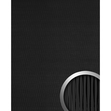 WallFace 15956 MOTION ONE Wall panel wallcovering wall panel 3D wave textured decor self-adhesive black 2.60 sqm
