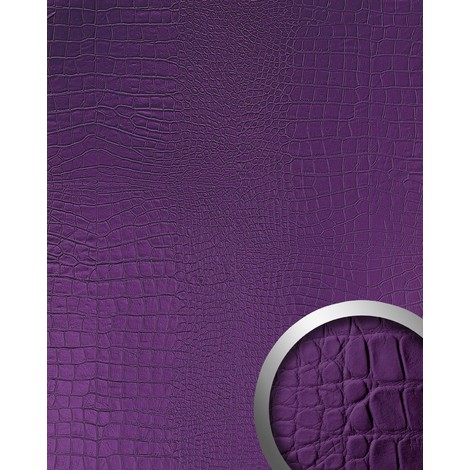 WallFace 16415 CROCO NOVA Wall panel leather 3D interior decoration luxury wallcovering self-adhesive violet | 2.60 sqm