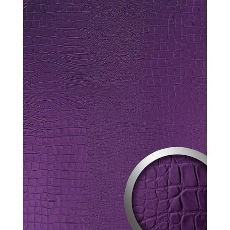 WallFace 16415 CROCO NOVA Wall panel leather 3D interior decoration wallcovering self-adhesive violet 2.60 sqm