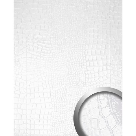 WallFace 16431 CROCONOVA Wall panel textured interior decor luxury wallcovering self-adhesive magic white | 2.60 sqm